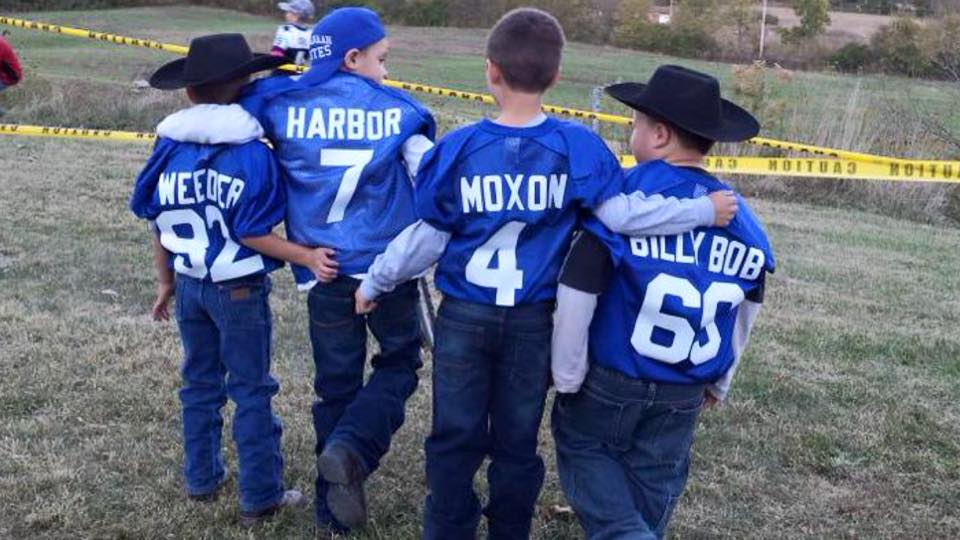 Kids dressed up like the characters from Varsity Blues. It's cute